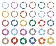 das Piktogramm mit 30 Pfeilen erneuern Umladenrotationsschleifen-Zeichensatz stock abbildung