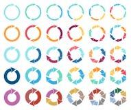 das Piktogramm mit 30 Pfeilen erneuern Umladenrotationsschleifen-Zeichensatz Lizenzfreies Stockfoto