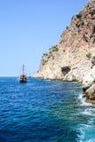 Das Piratenschiff am Strand von Kleopatra Lizenzfreies Stockfoto
