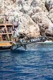 Das Piratenschiff am Strand von Kleopatra Stockbild
