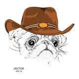 Das Plakat mit dem Bild des Hundes in einem Cowboyhut Vektor Stockfotos
