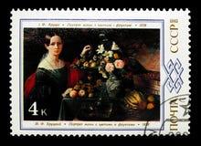 Das Porträt der Frau mit Blumen und Frucht vorbei I f Khrutsky, 1838, B Stockfotos