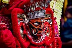 Das Porträt von theyyam, der traditionelle makeuped Gott Lizenzfreie Stockfotografie