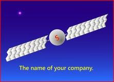 Das Projekt des Firma-` s Logos mit einem Satelliten der Erde vor dem hintergrund des Himmels und eines hellen Sternes Stockbild