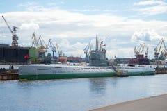Das Projekt 613 des Unterseeboots C-189 am Juli-Nachmittag Lizenzfreies Stockfoto