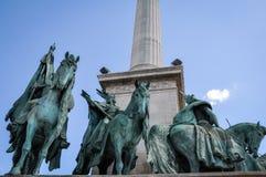 Das Quadrat der Helden in Budapest Ungarn lizenzfreies stockfoto