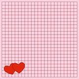 Das quadratische Schreibensbuchblatt mit Herzen vektor abbildung