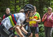 Das Radfahrer-Kennzeichen Cavendish- Col. du Granier 2012 Stockfotografie