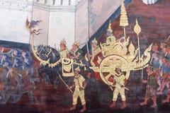 Das ramayana, das öffentlich Tempel in Thailand malt Lizenzfreie Stockfotos