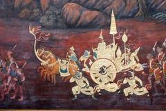 Das ramayana, das öffentlich Tempel in Thailand malt Stockbild
