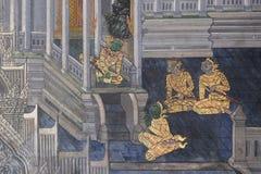 Das ramayana, das öffentlich Tempel in Thailand malt Stockbilder