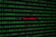 Das RansomWare und binär Code-Konzept-Sicherheit und Schadsoftware das atta Lizenzfreie Stockfotografie