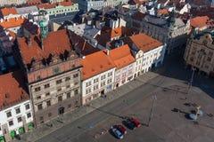Das Rathaus, Vogelperspektive, Pilsen, Republikquadrat stockbild