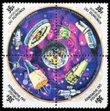 Das Raumfahrzeug auf einem Stempel lizenzfreie stockfotografie