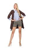 Das recht junge Modell in der braunen Jacke lokalisiert auf Weiß Lizenzfreies Stockfoto