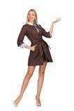 Das recht junge Modell in der braunen Jacke lokalisiert auf Weiß Stockfotos