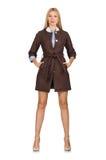 Das recht junge Modell in der braunen Jacke lokalisiert auf Weiß Stockbild