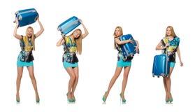 Das Reiseferienkonzept mit Gepäck auf Weiß Lizenzfreie Stockfotos