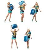 Das Reiseferienkonzept mit Gepäck auf Weiß Stockfoto