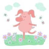 Das reizende Schwein mit Augen schloss Stand auf einem Bein Netter Karikaturschweinaufkleber Stockbilder