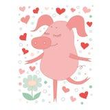 Das reizende Schwein mit einem schließend Augen stend auf einem Bein Auf einem weißen Hintergrund mit Herzen Stockfoto