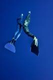 Das romantische simultane freedive in die Tiefe stockbild