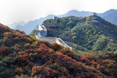 Das rote Blatt in Badaling (Chinesische Mauer) Stockbilder