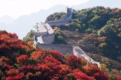 Das rote Blatt in Badaling (Chinesische Mauer) Lizenzfreies Stockbild