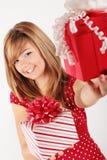 Das rote Geschenk ist für Sie Stockfoto