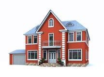 Das rote Haus mit Garage Stockbild