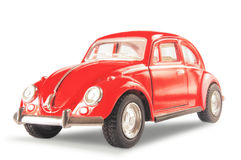 Das rote klassische deutsche Auto auf einem weißen Hintergrund Stockbilder