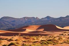 Das Rotglühen des Sandes in der Sonne Stockfoto