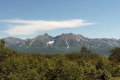 Das ruinierte vulcan Sommer Die schöne Landschaft lizenzfreie stockfotos