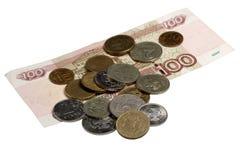Das russische Geld auf einem weißen Hintergrund Lizenzfreie Stockfotografie