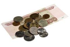 Das russische Geld auf einem weißen Hintergrund Lizenzfreies Stockfoto
