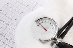 Das Salzverbrauchen kann Blutdruck, Stapel erhöhen des Salzes, Blutdruckmesser auf ecg Aufzeichnung Lizenzfreie Stockfotografie