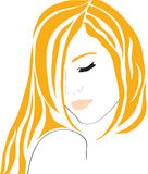 Das schöne abstrakte Mädchen mit dem roten Haar. Lizenzfreie Stockfotos