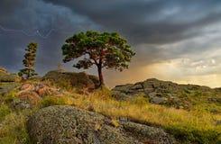 Das schöne Landschaftsfoto zu Beginn eines Gewitters Stockfotos