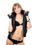 Das schöne Mädchen in der Unterwäsche und in einer Lederjacke Lizenzfreie Stockbilder