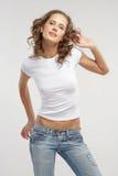 Das schöne Mädchen innen täglich Lizenzfreies Stockfoto
