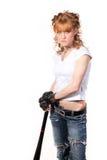 Das schöne Mädchen mit einem Hieb Lizenzfreie Stockfotografie