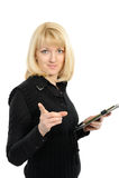 Das schöne Mädchen mit einem schwarzen Faltblatt in den Händen Stockfoto