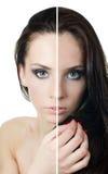 Das schöne Mädchen mit Problemen auf dem Gesicht lizenzfreie stockbilder