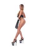Das schöne Mädchen tanzt einen Stripteasetanz Lizenzfreie Stockfotos