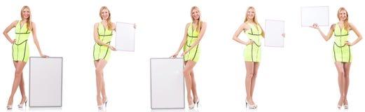 Das Schönheitsholding whiteboard lokalisiert auf Weiß stockfoto