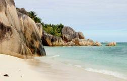 Das schönste Strand Anse-Quelld ` Argent von der Insel der La-Grabung lizenzfreies stockfoto