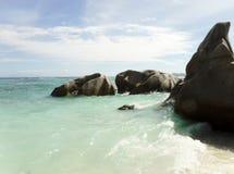 Das schönste Strand Anse-Quelld ` Argent von der Insel der La-Grabung lizenzfreies stockbild