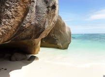 Das schönste Strand Anse-Quelld ` Argent von der Insel der La-Grabung lizenzfreie stockbilder