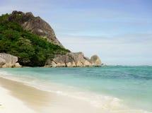 Das schönste Strand Anse-Quelld ` Argent von der Insel der La-Grabung stockfotografie