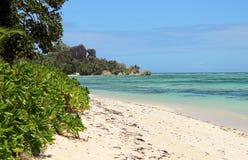 Das schönste Strand Anse-Quelld ` Argent von der Insel der La-Grabung lizenzfreie stockfotografie